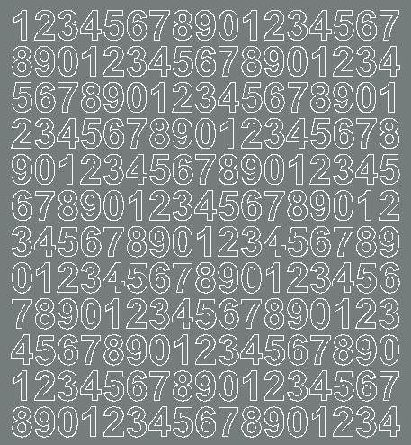 Cyfry samoprzylepne 1.5 cm szary z połyskiem