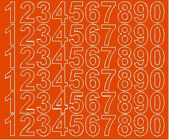 Cyfry samoprzylepne 3 cm pomarańczowy z połyskiem