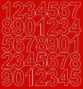 Cyfry samoprzylepne 4 cm czerwone z połyskiem