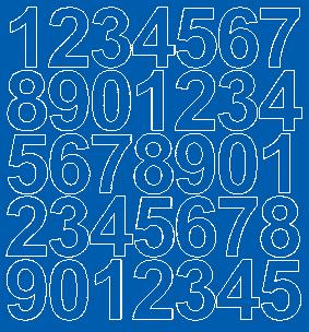 Cyfry samoprzylepne 4 cm niebieski matowy