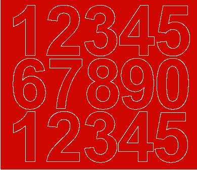 Cyfry samoprzylepne 6 cm czerwone z połyskiem