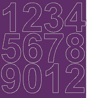 Cyfry samoprzylepne 7 cm fioletowy z połyskiem