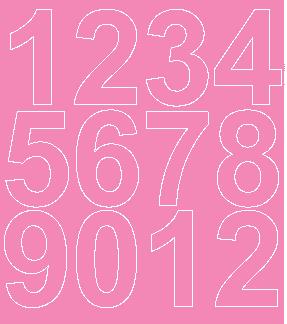 Cyfry samoprzylepne 7 cm różowy z połyskiem