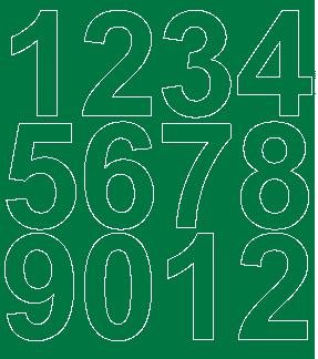 Cyfry samoprzylepne 7 cm zielone z połyskiem