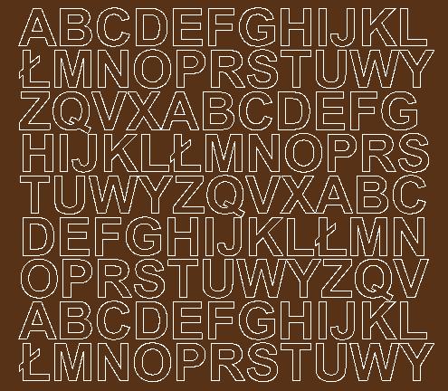 Litery samoprzylepne 2 cm brązowy z połyskiem