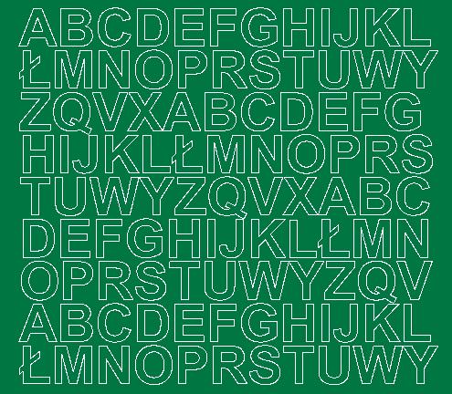 Litery samoprzylepne 2 cm zielone matowy