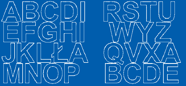 Litery samoprzylepne 5 cm niebieski matowy