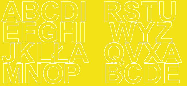 Litery samoprzylepne 5 cm żółty z połyskiem