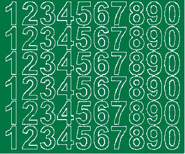 Cyfry samoprzylepne 3 cm zielone matowy