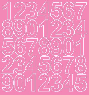 Cyfry samoprzylepne 4 cm różowy z połyskiem