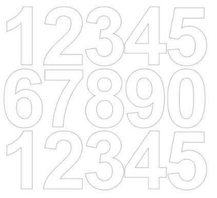 Cyfry samoprzylepne 6 cm biały matowy