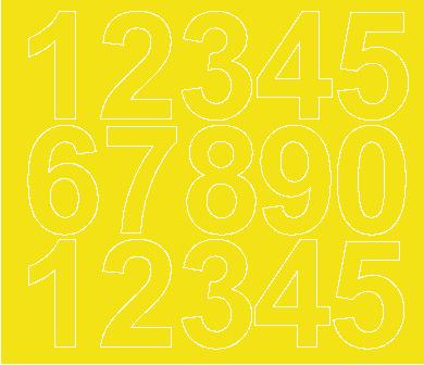 Cyfry samoprzylepne 6 cm żółty z połyskiem