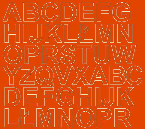 Litery samoprzylepne 3 cm pomarańczowy z połyskiem