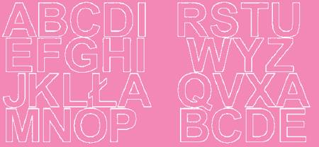 Litery samoprzylepne 5 cm różowy z połyskiem
