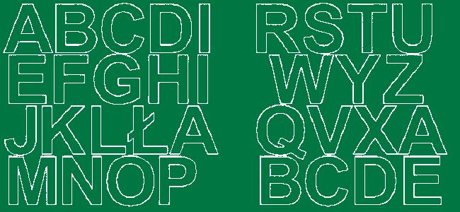 Litery samoprzylepne 5 cm zielone z połyskiem