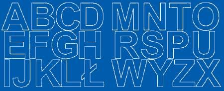 Litery samoprzylepne 6 cm niebieski z połyskiem